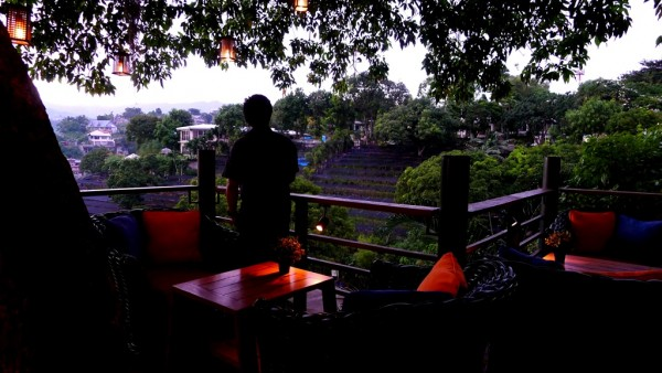 Admiring the panoramic view at Anzani New Mediterranean Restaurant
