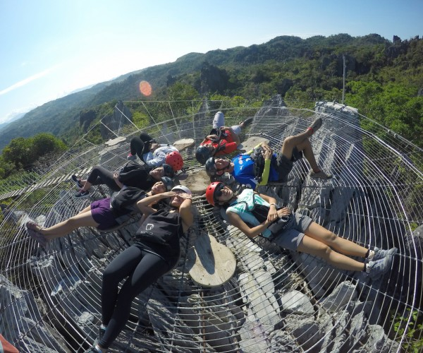Our group enjoying the heat of the sun at the giant web.