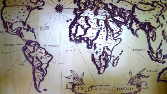 World map where cacao is grown