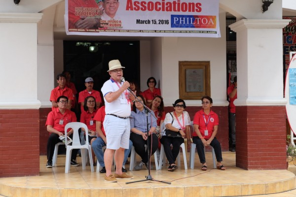 Mr Cesar Cruz saying his words of appreciation for the overwhelming welcome we received from Angono LGU