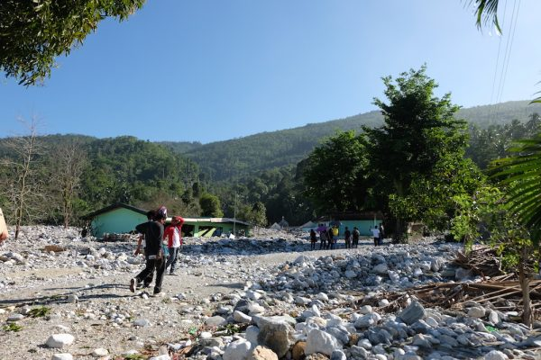 The entire village was covered by stones from the moutain