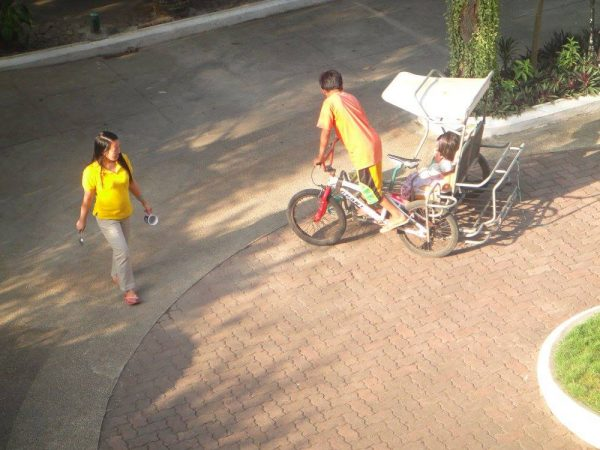 The kids enjoy the pedicab around the chalet grounds
