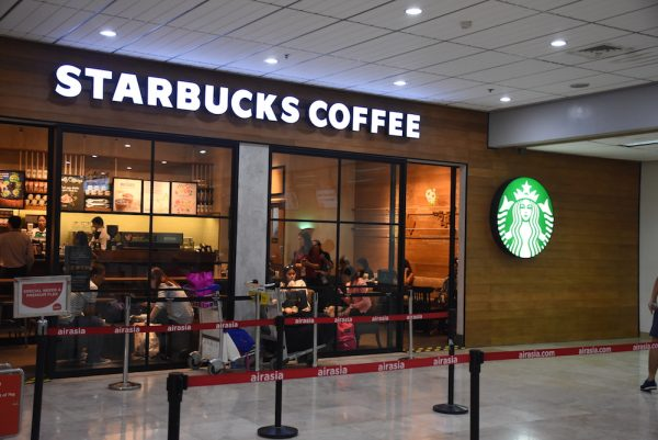 starbucks coffee near check-in counters of Mactan-Cebu International Airport