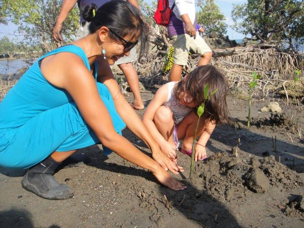 Luna and I plant bungalon mangrove seedlings specifically for the sandy site
