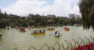 Manmade lake in Burnham Park Baguio where visitors do boating