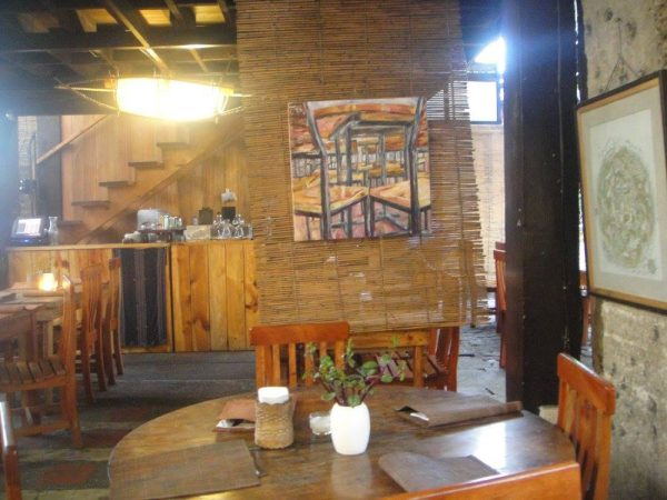 The cafe's interior made distinct with art and craftsmanship