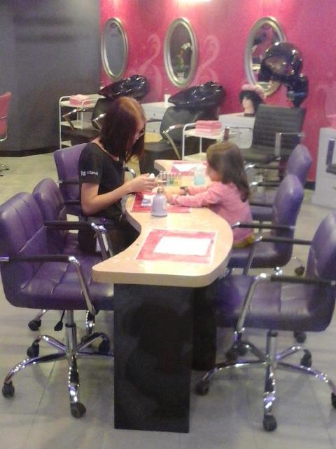 Nail polish at the Beauty Salon first before work
