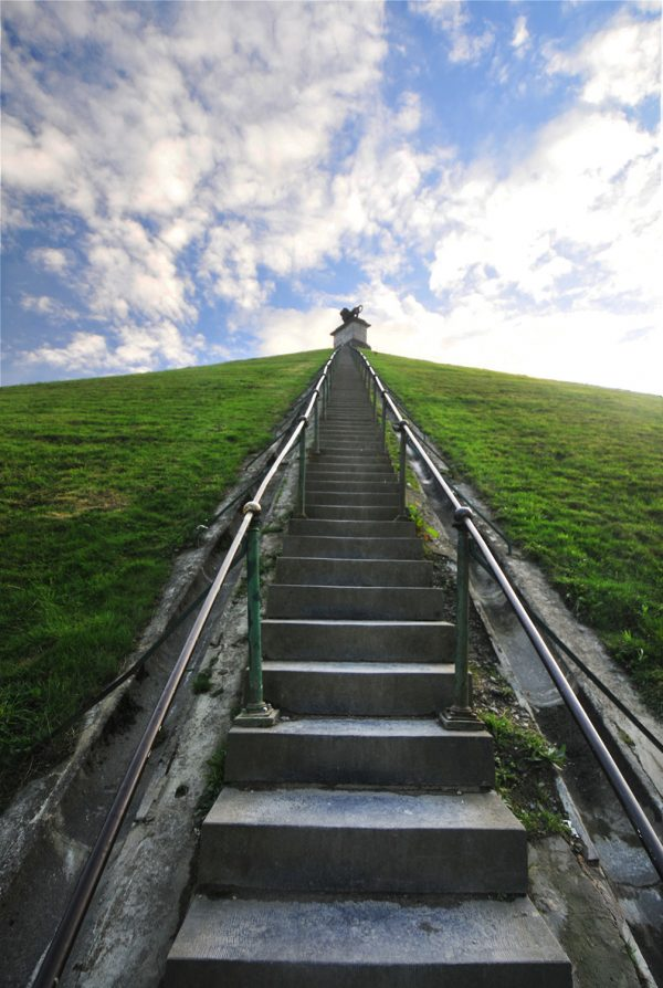 The hard climb to the top of the Mound.