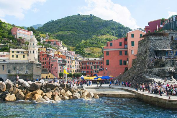 The landing pier in Vernazza was pretty crowded and it took several minutes for our boat to dock which was okay for I was able to take nice pictures like this showing the colorful town with the mountains in the background. Really postcard pretty!