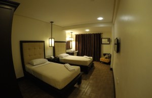 Interior of the Deluxe Room with twin beds