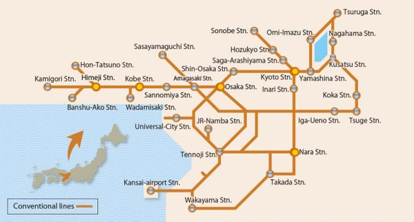 Kansai Area Pass Rail Coverage