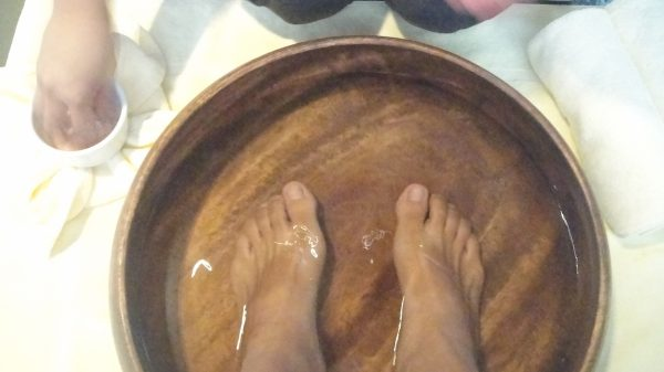 Pre-body massage foot care
