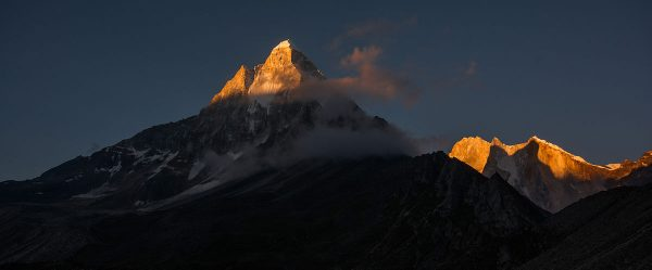 Shivling and Meru Himalayan mountain peaks