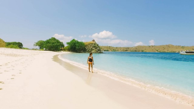 Long stretch of Pink Beach in Indonesia