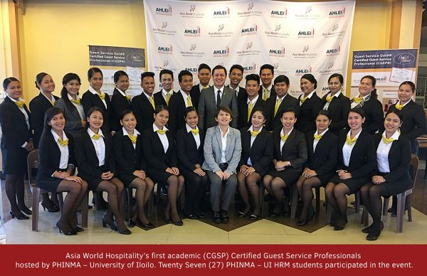 Asia World Hospitality conducted its first academic Certified Guest Service Professionals in University of Iloilo