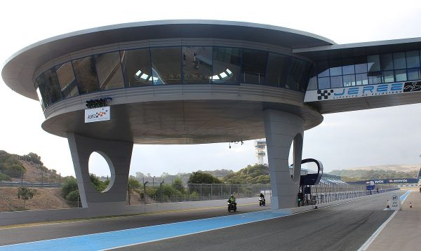 """The VIP """"flying saucer"""" over the Jerez track near the finish line"""