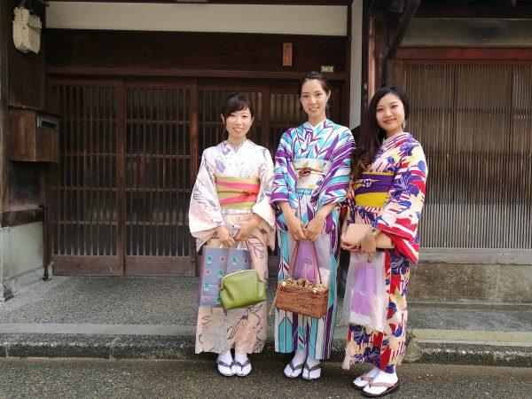 Ladies wearing Kimono at the Geisha District