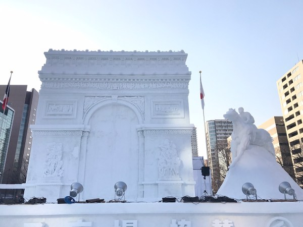 Huge Snow and Ice Replica of Arc de Triomphe