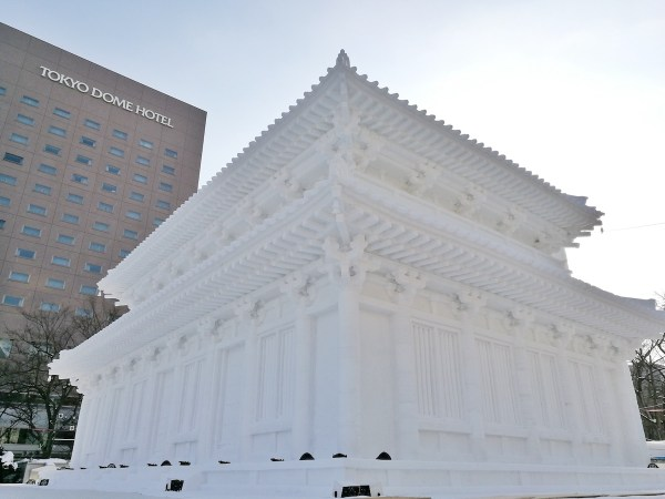Ice replica of the Central Grand Hall of Kofukuji Temple in Nara