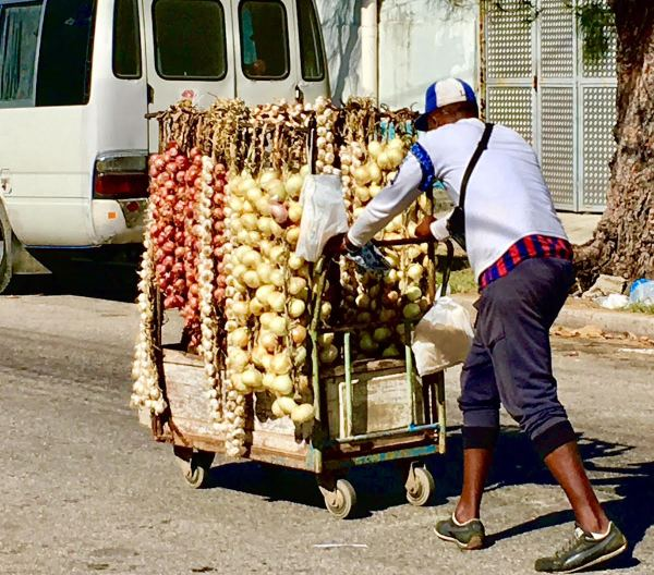 Selling onions :potatoes in the neighborhood