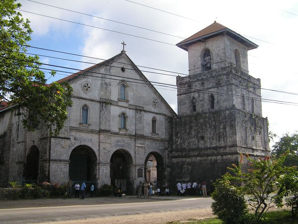Facade and bell tower of the church of Baclayon