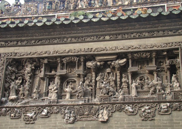 A brick carving at the Guangzhou Folk Art Museum, housed in the Chen Clan Ancestral Hall