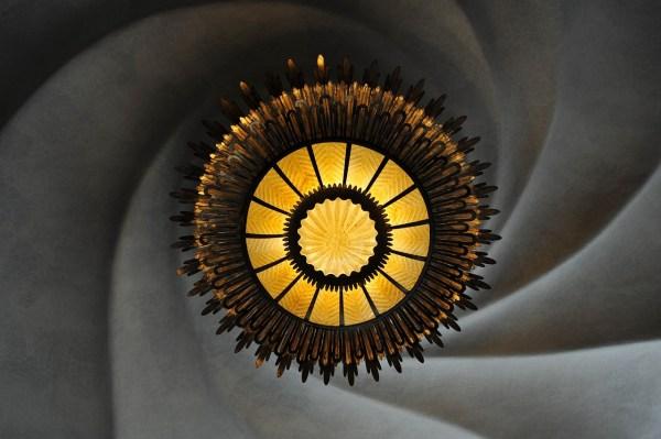 One of the beautiful chandeliers inside Casa Battlo