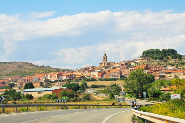Passing through the picturesque town of Najera.
