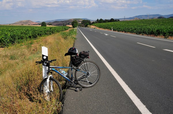 Stopping for a breather on the long, straight road to Fromista.