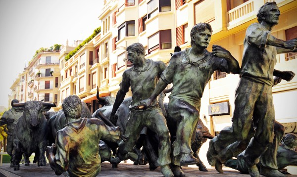 The statue downtown of the Running of the Bulls which happens annually in July.