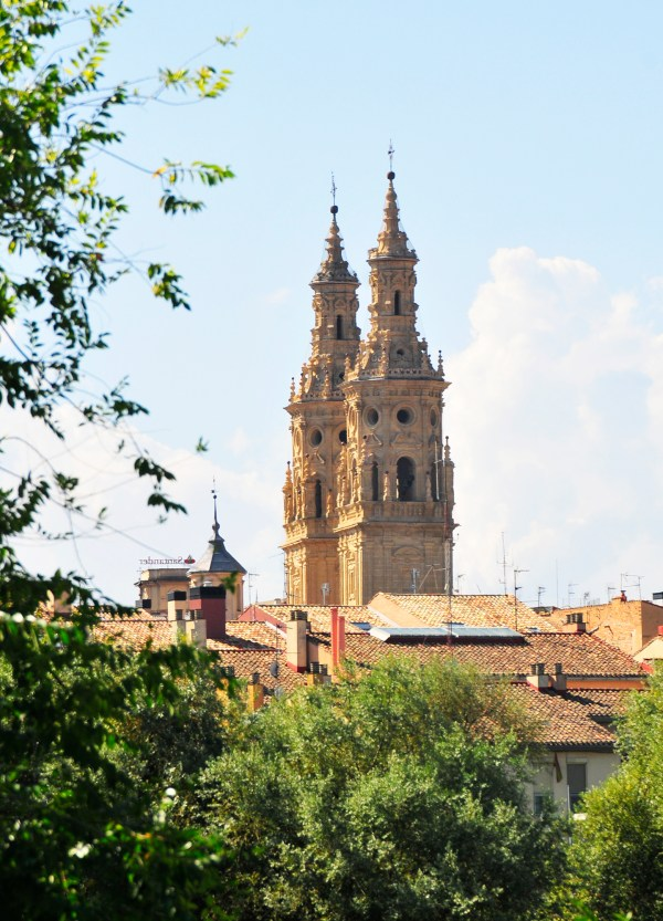 The twin spires of the cathedral in Logrono greets you from afar.