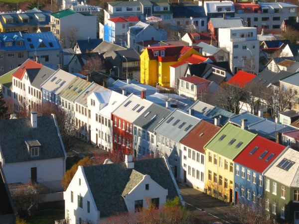 Typical Icelandic houses in the center of Reykjavik