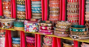 Display of colorful bangels inside City Palace in Jaipur Rajasthan India