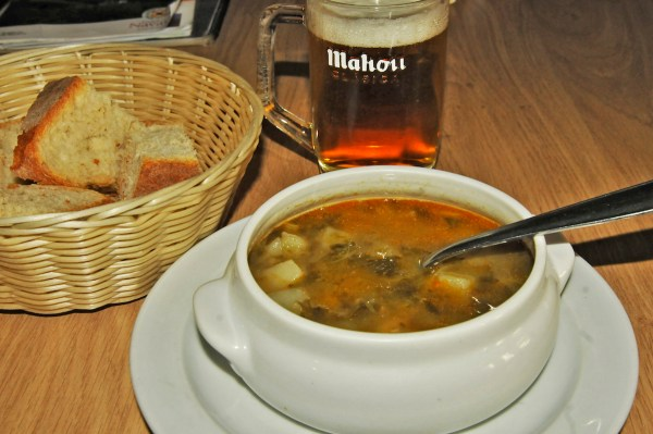 Having soup while waiting for my steak to be served at dinnertime.