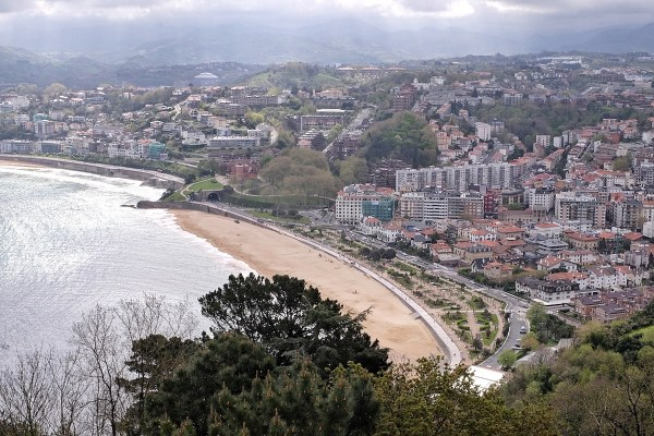 View from Monte Igueldo - La Concha Bay in San Sebastian Spain