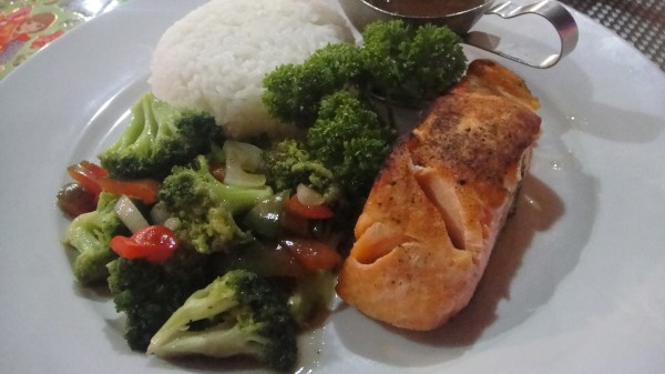 Pan-fried Salmon with buttered vegetables