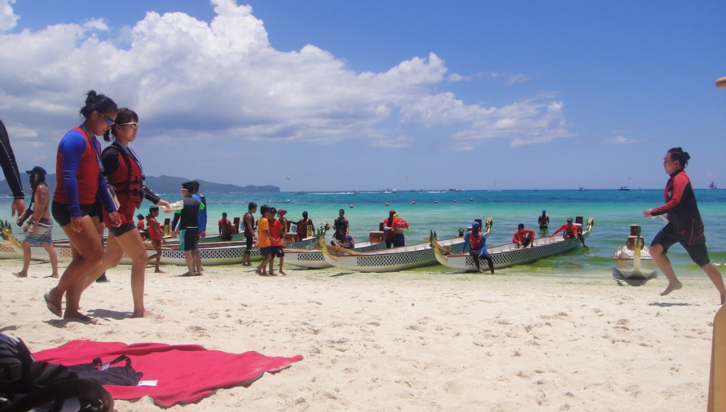 The official dragon boats marvelously docked on the shore