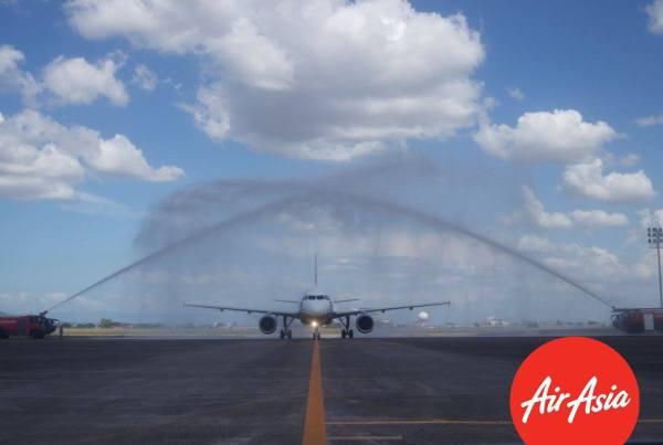 Water Canon Welcoming the AirAsia Aircraft with Puregold Livery