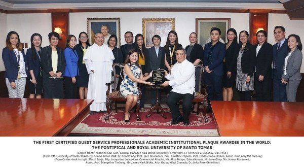 Asia World Hospitality and AHLEI awards UST with Certified Guest Property distinction