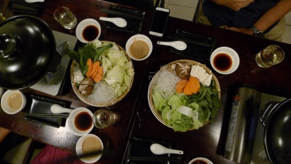 Vegetable set, sauces and hotpot