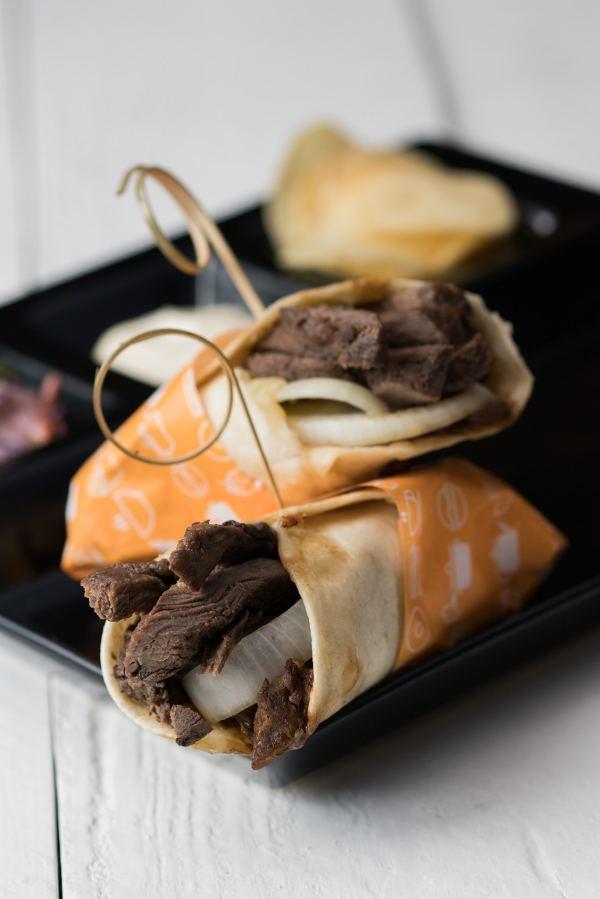 Grilled Beef Tapa, Mozzarella and Onion Tortilla Wrap