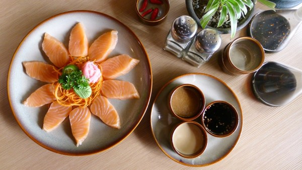 Salmon Sashimi Sunrise at Fiji