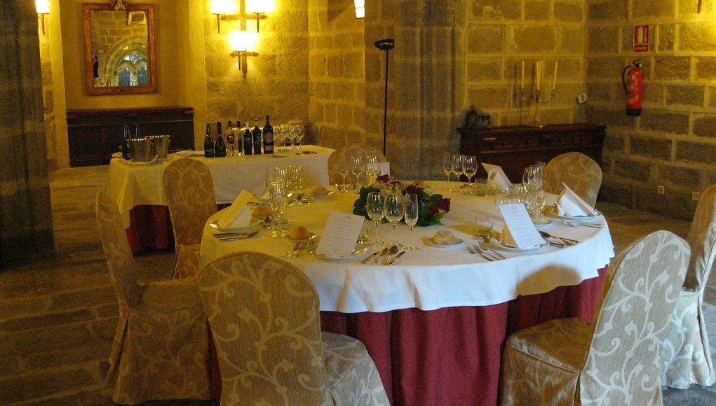 a chapel converted to a private dining room at the Parador