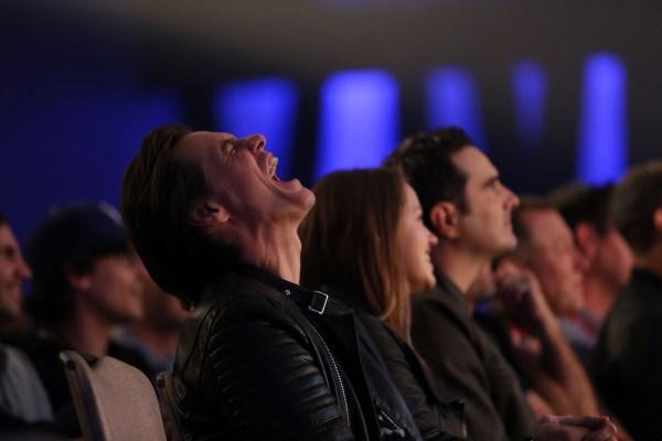 Jim Carrey laughing out loud at the JFL awards – credit Felicia Michaels