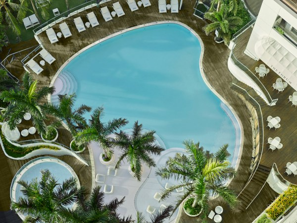 Top view of the Movenpick Cebu swimming pool and The Forum