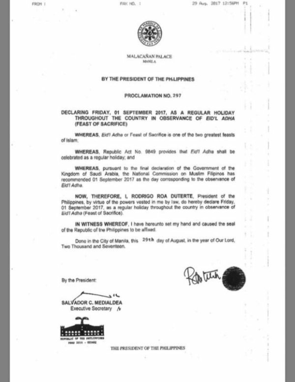 #WalangPasok Proclamation 297 on September 1, 2017 It's Another Long Weekend