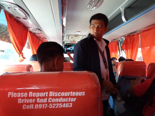 "Inside JAC Liner Bus. A fare of P152/head from Buendia Station to Tiaong Quezon. Just tell the driver ""Villa Escudero po."""