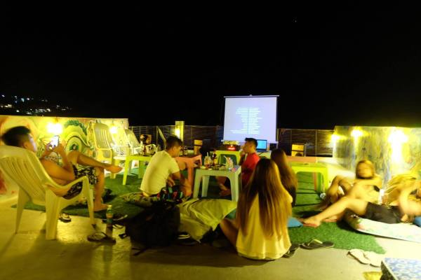 Movie Nights on the roof. Photo by MNL Beach Hostel