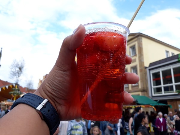 Getting punched by this Erdbeerbowle (Strawberry Soda Punch)
