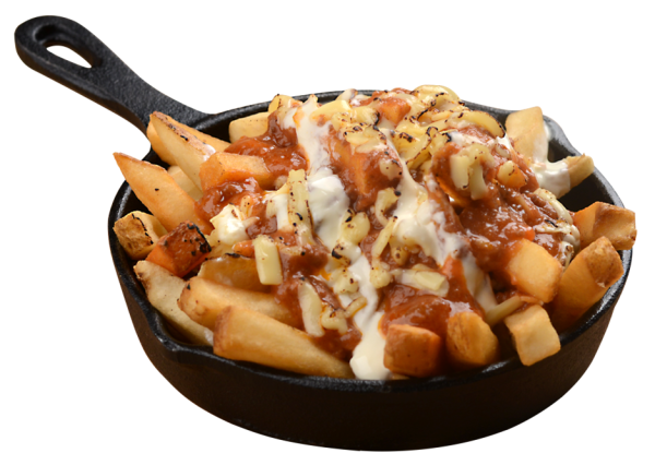 Patatas Bravas - Potatoes fried to golden brown perfection then topped with flavourful meat sauce, tangy sour cream, and glorious melted cheese
